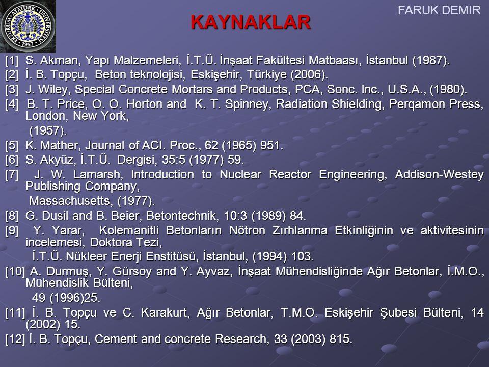 FARUK DEMIR KAYNAKLAR. [1] S. Akman, Yapı Malzemeleri, İ.T.Ü. İnşaat Fakültesi Matbaası, İstanbul (1987).